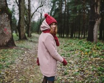 Women's Wool Pink Coat   Wool Coat Women   Hooded Coat   Winter Coat   Cosy Coat   Coat With Pockets   Coat With Buttons