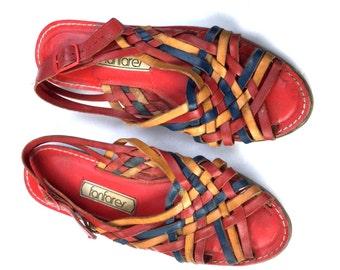 Vintage Rainbow Huarrache Leather Sandals