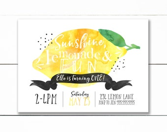 Lemon Birthday Invitation, Lemonade birthday invitation Girl birthday party, Lemon first birthday invite, sweet celebration, lemonade stand