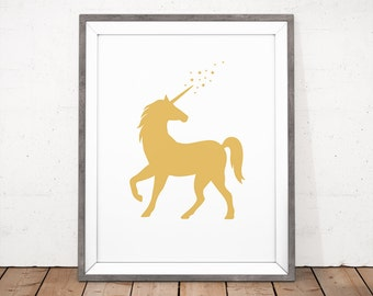 Unicorn Printable, Gold Unicorn, Unicorn Wall Art, Gold Nursery, Unicorn Print, Yellow Nursery Art, Animal Illustration, Baby Room Print