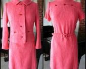 25% off MOD Neon Tweed Dress Jacket / S-M / 60s Mary Scott Palm Beach dress suit / Custom Casuals Suit / neon coral tweed
