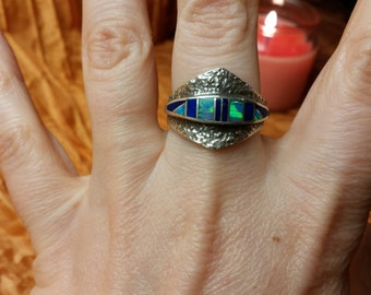 Sterling Blue Lapis and Opal Inlay Ring Size 8