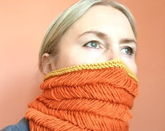 PDF pattern - Hand knitted loopy herringbone cowl tube scarf