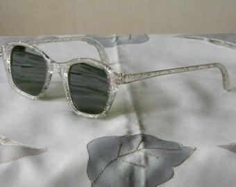True Vintage Rare Confetti Glitter, green lens, rare, Cat eye sunglasses, 40's 50's NOS Made in England.
