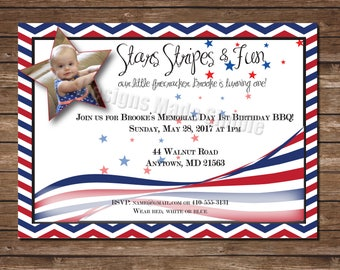 Stars and Stripes Patriotic First Birthday Party Invite with Photo - Printable