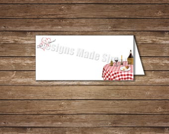 That's Amore Italian Dinner Themed Blank Tented Place Cards - Printables - Instant Downloads