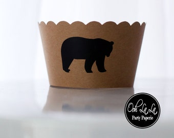 Kraft Paper with Bear Image Cupcake Wrappers- Set of 12