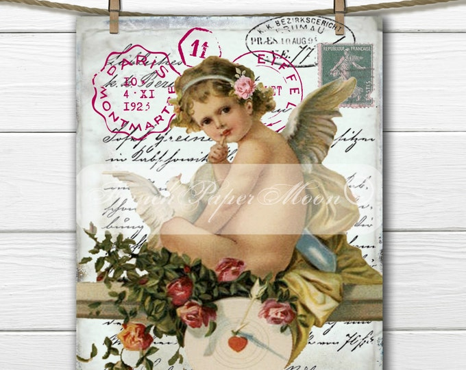 Shabby Vintage Cherub Printable, Digital Vintage Valentine's Day, Instant Download Fabric Transfer Graphic