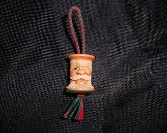 Hand Carved Wood Sewing Spool Santa