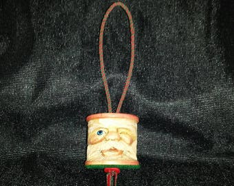 Hand Carved Wood Santa Spool