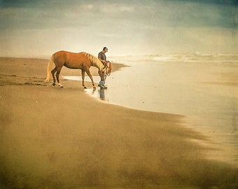 Man with Horse at Sandy Beach. Manzanita. Oregon. Pacific Ocean. Wall Art Print. Nature Photography by OneFrameStories.