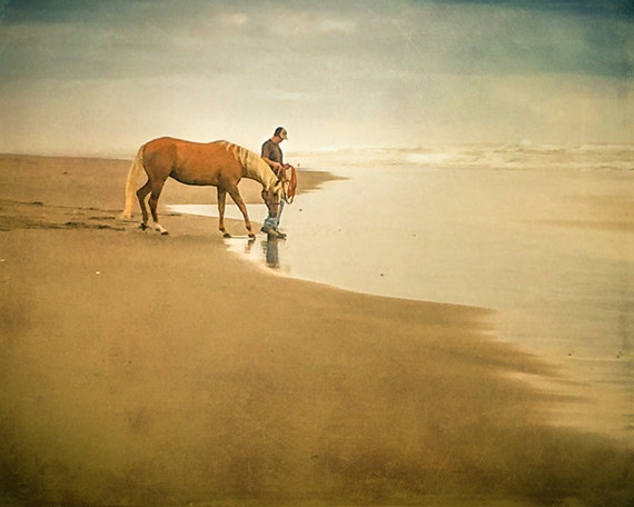 Man with Horse at Sandy Beach. Manzanita. Oregon. Pacific Ocean. Wall Art Print. Nature Photography by OneFrameStories.