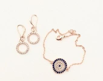 Rose Gold plated Pave O Bracelet
