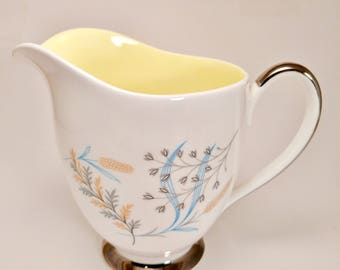 Vintage milk jug - Queen Anne - pattern Glade - 1950s harlequin - pastel yellow inlay