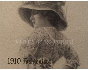 Lot of VINTAGE REPRODUCTION POSTCARDS,1910 Reproduction Vintage Fashion Postcard,Stationary,PostcardLo t,Edwardian Lady Sketch Postcard