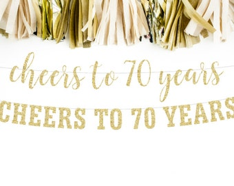 Cheers to 70 Years Banner, 70th Birthday Party, 70th Anniversary, 70th Birthday Sign, 70th Birthday Decor, Glitter Banner, 70th Party Banner