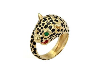 20144 - Enamel Cheetah Bypass 14k Yellow Gold Ring - Size 5.5
