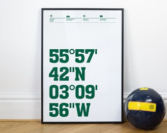Hibernian Football Stadium Coordinates Posters