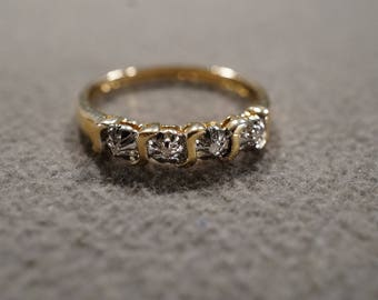 Vintage Sterling Silver Yellow Gold Overlay Wedding Band Ring 4 Round Prong Set Diamond Stacker Design, Size 10