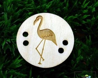 flamingo button, wood button