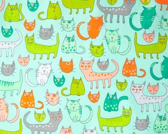 Pastel Long Cats On Aqua Background,100% Cotton Fabric By Robert Kaufman