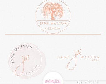 Willow Tree Logo 1- Premade Photography Logo and Watermark, Classic Elegant Script Font GOLD GLITTER TREE children Calligraphy Logo
