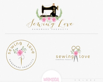 Floral sewing machine - Handmade products logo - Craft store - Boutique - Sewing- Handmade - watercolor flowers, scissors, needle, thread