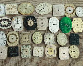 vintage watch faces ...  set of 28  watch faces USSR ...  watches dials ... supply dials ... Old Vintage watch parts ... steampunk supplies