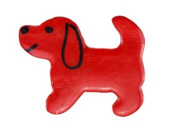 Vintage Red Dog Brooch, Large Red Dog Brooch, Red Dog Pin
