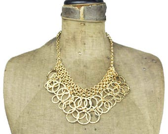 Gold Bib Necklace, Gold Circle Necklace, Gold Fringe Necklace, Gold Circle Bib Necklace