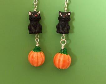 Black Cat Pumpkin Patch Earrings
