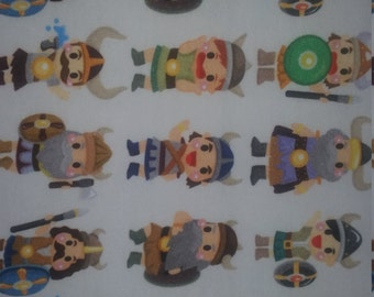 Cute Vikings on cotton lycra jersey knit fabric - UK seller