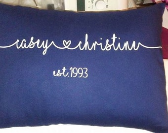 love pillow with established date