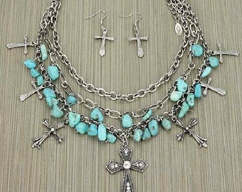 turquoise stones silver metals crosses necklace