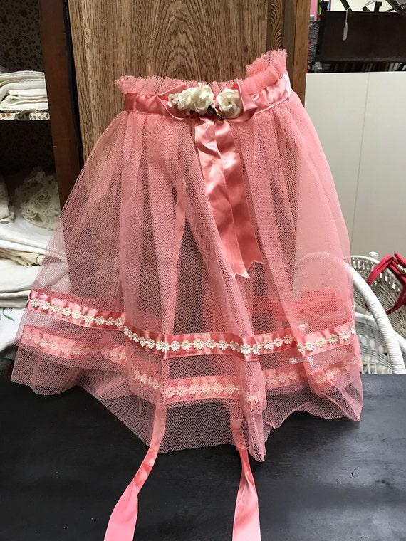 Pink tulle apron vintage