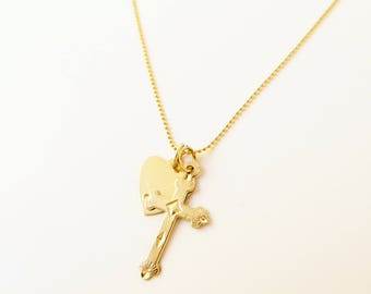C HEART NECKLACE, charm necklace, heart necklace, cross necklace, gold cross necklace, gold heart necklace