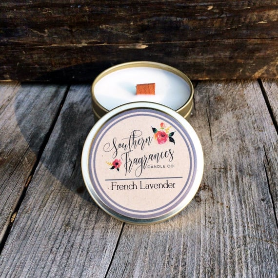 French Lavender Candle | 6oz Travel Size Soy Candle | Southern Fragrances | Soothing Lavender Candle | Spa Candle | Wood Wick Candle