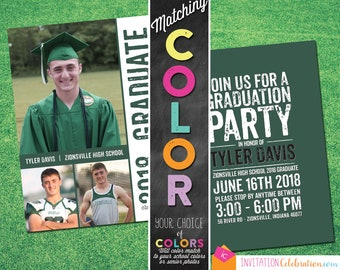 High School Graduation Announcement - Any COLORS - 3 Photos - Graduation Party - Open House - Choose Digital or Printed w/ Envelopes