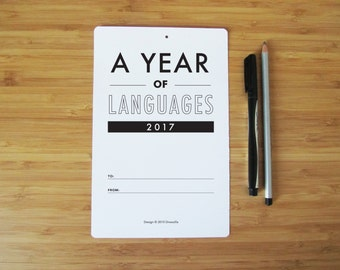 """2017 Languages Calendar, Fun and Colourful Typography Calendar - Individual Printed sheets, Gift, 5.5"""" by 8.5"""""""