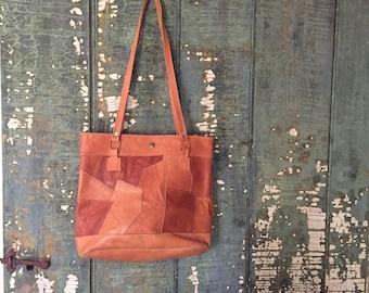 1970s Vintage Leather Patchwork Purse: Vintage Cognac Brown Handbag, Stitched Leather Patchwork Purse, Boho Hippie Purse