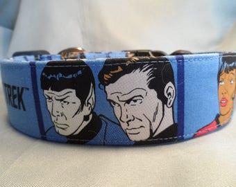 Star Trek Fabric Dog Collar, 1.5 inch Wide Dog Collar