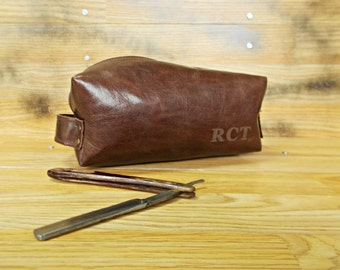 Leather toiletry bag, Men's Dopp Kit, Shaving bag, Leather pouch, Travel bag, Personalized gift, Groomsmen, Brown, Cosmetic bag, Makeup bag