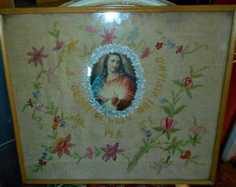 Convent Embroidered Religious Artwork on Linen