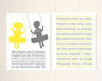 Mother of twins prayer, baby shower gift, twins wall art, twins gift idea, yellow grey nursery, nursery wall art, baby boy nursery