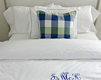 Twin Queen King Monogram LinenDuvet/  Piped Duvet Cover/ Designer Dorm Custom Blue Linen Duvet