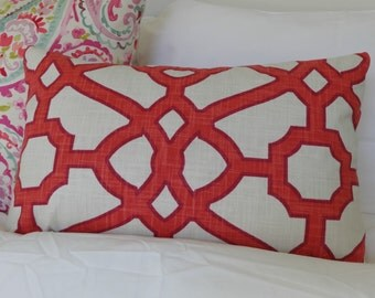 Kravet Pavillion Fretwork Linen Pillow Cover/ 20x20  Toss Accent Designer Pillow/ Custom Linen Pillow Cover