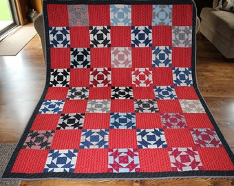 Vintage Red and Navy Finished Quilt
