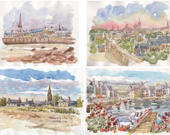 "Lot Cities of Brittany original glicée prints 4 painting prints ""Brittany cities 1"" wall decor print watercolor french decor france brittany"