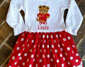 Girls Ruffled Tiger t-shirt Dress with Name