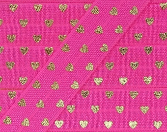 5/8 PASSION FRUIT with Gold Polka Hearts Fold Over Elastic
